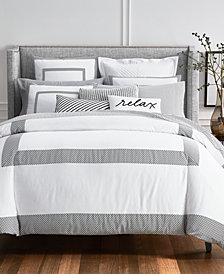 Charter Club Damask Designs Colorblock Black 3-Pc. Full/Queen Duvet Cover Set, Created for Macy's