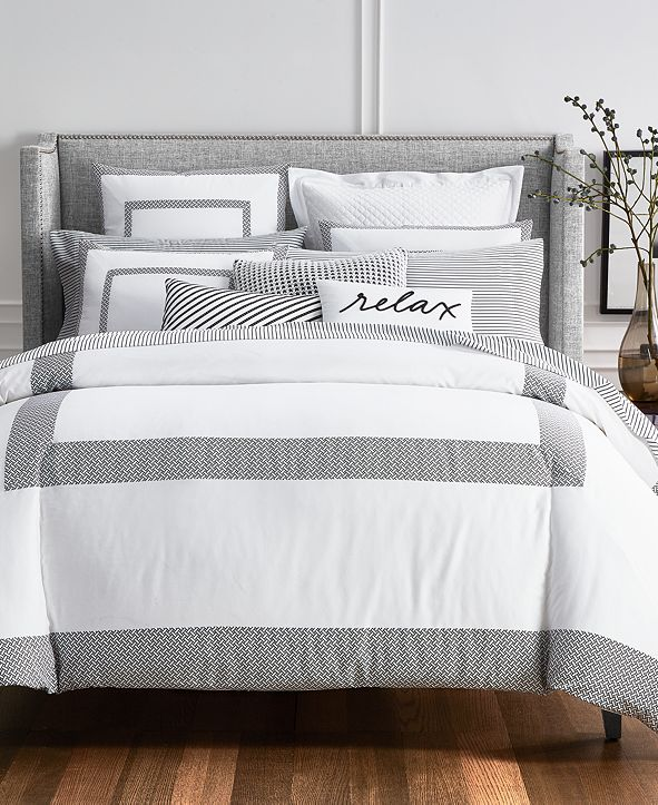 Charter Club Colorblock Black 2-Pc. Twin Duvet Cover Set, Created for Macy's