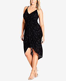 City Chic Trendy Plus Size Velvet High-Low Dress