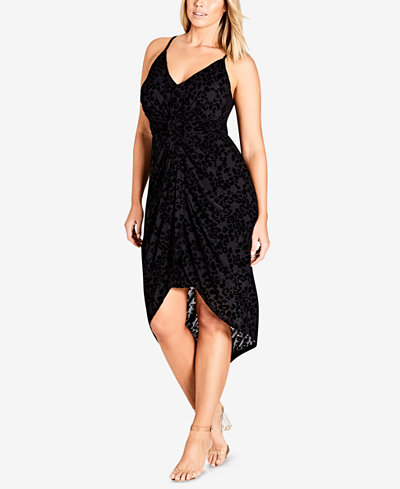 City Chic Trendy Plus Size Velvet High-Low Dress