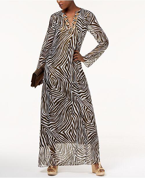 eb4dc361b04c Michael Kors Chain Lace-Up Maxi Dress   Reviews - Dresses ...