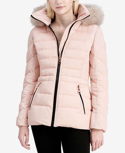 Faux fur trimmed puffer coat