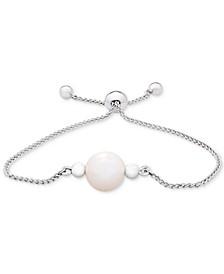 Cultured Freshwater Pearl (9mm) Bolo Bracelet in Sterling Silver