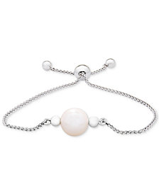 Cultured Freshwater Pearl (9mm) Bolo Bracelet in Sterling Silver
