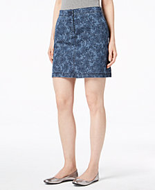 Karen Scott Petite Printed Indigo Skort, Created for Macy's