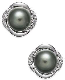 Cultured Tahitian Pearl (8mm) & Diamond (1/8 ct. t.w.) Stud Earrings in 14k White Gold