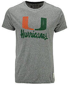 Retro Brand Men's Miami Hurricanes Retro Logo Tri-blend T-Shirt