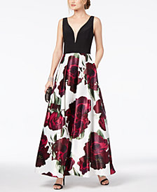 Xscape Solid & Floral-Print Plunge Gown