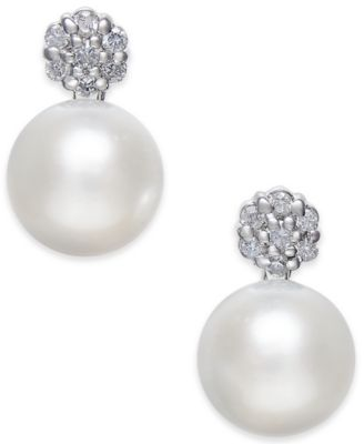 Cultured Freshwater Pearl (8mm) & Diamond (1/6 ct. t.w.) Cluster Stud Earrings in 14k White Gold
