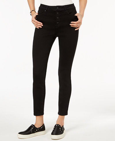 Black Daisy Juniors' Button-Fly Skinny Jeans