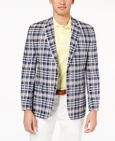 CLOSEOUT! Lauren Ralph Lauren Men's Classic-Fit Ultraflex Navy/Cream Madras Plaid Sport Coat