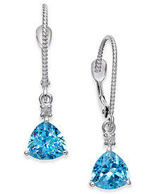 Blue Topaz (2 ct. t.w.) & Diamond Accent Drop Earrings in 14k White Gold