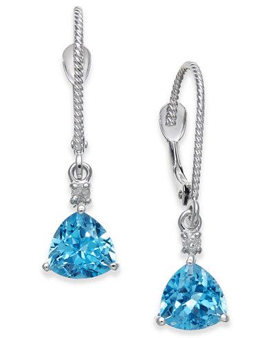 Blue Topaz (2 ct. t.w.) & Diamond Accent Drop Earrings in 14k White Gold