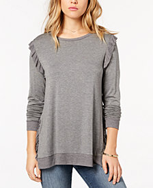 kensie Ruffled Contrast Sweater