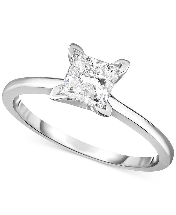 Macy's Diamond (1 ct. t.w.) Princess Engagement Ring in 14k White, Yellow or Rose Gold