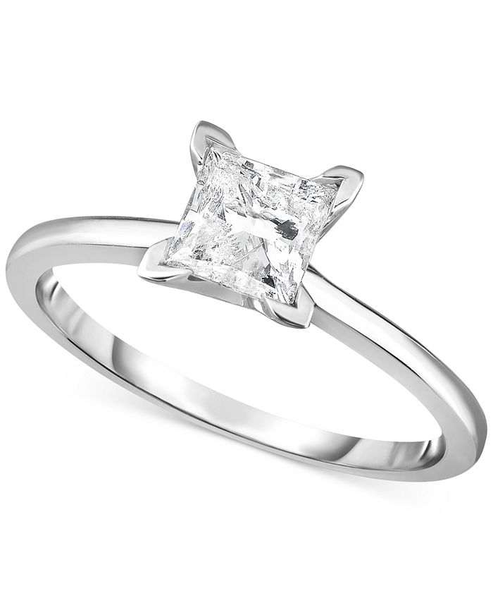 Macy's - Diamond (1 ct. t.w.) Princess Engagement Ring in 14k White, Yellow or Rose Gold