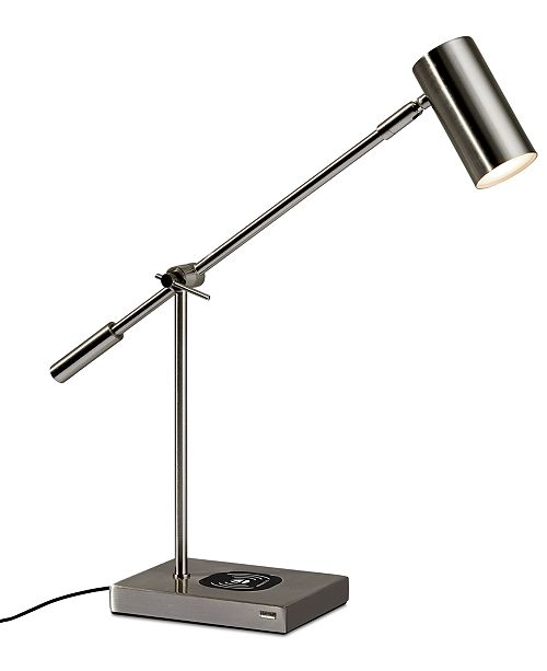 Adesso Collette LED Desk Lamp with Wireless Air Charger & USB Port