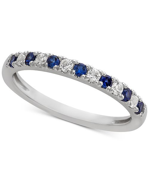 Macy's Sapphire (1/4 ct. t.w.) & Diamond (1/6 ct. t.w.) Band in 14k White Gold