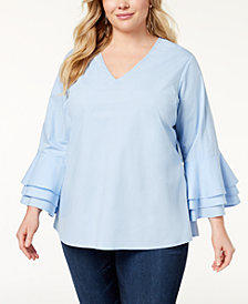 Love Scarlett Plus Size Ruffled-Sleeve Top