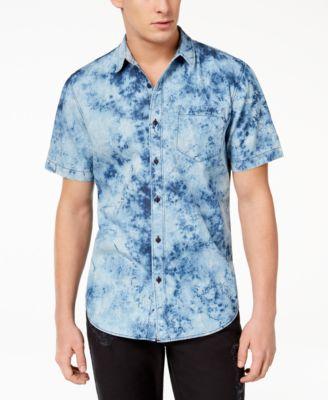 Men's Denim Shirt Dress with Tie