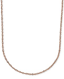 "16"" Italian Gold Two-Tone Perfectina Chain Necklace in 14k Rose Gold"