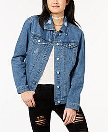 Crave Fame by Almost Famous Juniors' Lace-Up Denim Jacket