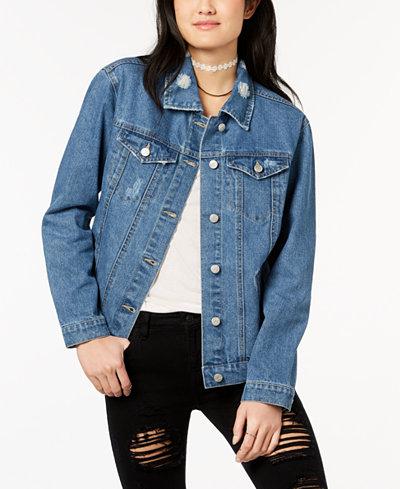 Crave Fame by Almost Famous Juniors' Lace-Up Denim Jacket