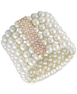 Say Yes to the Prom Gold-Tone Crystal & Imitation Pearl Multi-Row Stretch Bracelet