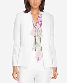 Tahari ASL Star-Neck Pleated-Sleeve Crepe Jacket, Regular & Petite