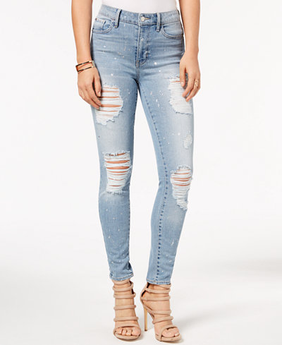 GUESS 1981 Metallic-Splatter Ripped Skinny Jeans
