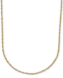 "16"" Italian Gold Two-Tone Perfectina Chain Necklace (1-1/3mm) in 14k Gold"