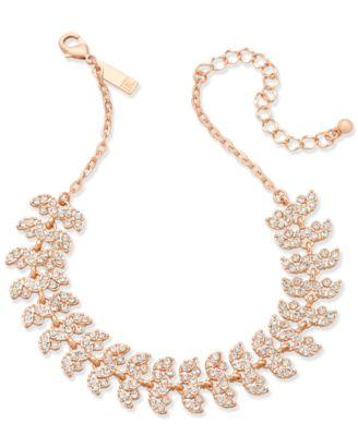 INC Rose GoldTone Crystal Leaf Choker Necklace 1134 3