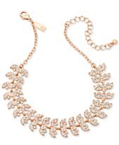 """I.N.C. Rose Gold-Tone Crystal Leaf Choker Necklace, 11-3/4"""" + 3"""" extender, Created for Macy's"""