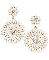 I.N.C. Gold-Tone Stone & Crystal Floral Drop Earrings, Created for Macy's