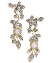 I.N.C. Gold-Tone Imitation Pearl & Pavé Drop Earrings, Created for Macy's