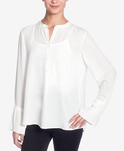 Catherine Catherine Malandrino Collarless Flared-Sleeve Shirt