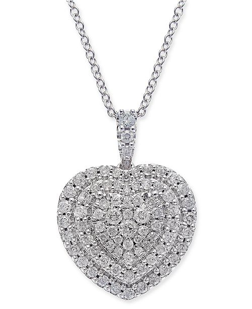 Macy's Diamond Heart Cluster Pendant Necklace (1/2 ct. t.w.) in 14k White Gold
