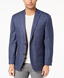 Michael Kors Men's Classic-Fit Blue Plaid Wool Sport Coat