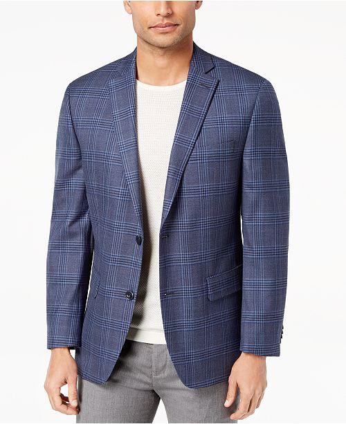 Michael Kors Mens Classic Fit Blue Plaid Wool Sport Coat Blazers