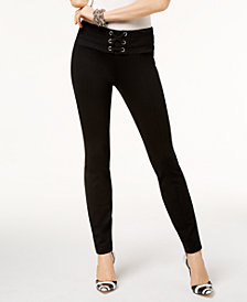 I.N.C. Petite Lace-Up Skinny Pants, Created for Macy's