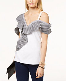 I.N.C. Asymmetrical Cold-Shoulder Top, Created for Macy's