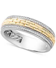 Men's Diamond Two-Tone Band (1/4 ct. t.w.) in Sterling Silver & 10k Gold
