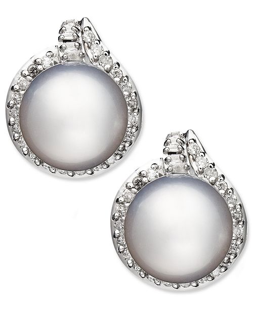 Macy's 14k White Gold Earrings, Cultured South Sea Pearl (11mm) and Diamond (3/4 ct. t.w.) Stud Earrings