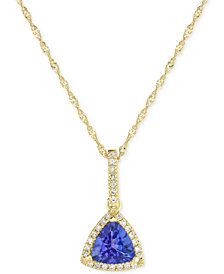 "Tanzanite (3/4 ct. t.w.) and Diamond (1/10 ct. t.w.) 18"" Pendant Necklace in 14k Gold"