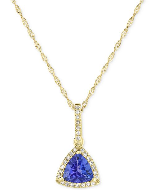"Macy's Tanzanite (3/4 ct. t.w.) and Diamond (1/10 ct. t.w.) 18"" Pendant Necklace in 14k Gold"