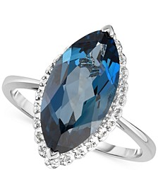 London Blue Topaz (5 ct. t.w.) & Diamond Accent Ring in 14k White Gold