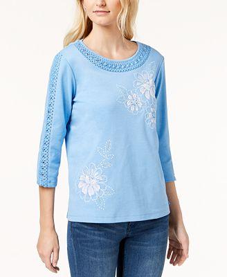 Alfred Dunner Bonita Springs Embellished Embroidered Top