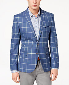 Nick Graham Men's Slim-Fit Stretch Baby Blue/White Windowpane Sport Coat
