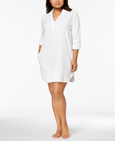 Charter Club Plus Size Notch-Collar Robe, Created for Macy's