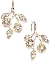 I.N.C. Gold-Tone Pavé & Imitation Pearl Flower Drop Earrings, Created for Macy's